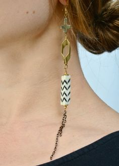 Tribal bone earrings - long and bold