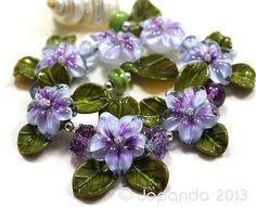 Jopanda Lampwork Beads Handmade SRA Purple Pillow Phlox Set | eBay