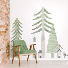 Wall Decals for Baby Rooms Forest Baby Rooms, Forest Room, Forest Nursery, Deer Wallpaper, Nursery Wallpaper, Playroom Mural, Nursery Wall Murals, Kids Room Wall Decals, Room Wall Painting