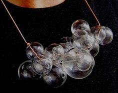 Glamorous Glass by Petra Glasova: Share my fascination with dreamy bubble glass jewellery. Clear glass bubble jewellery set containing a necklace, a bracelet and earrings. Glass Jewelry, Jewellery, Unique Jewelry, Necklace Designs, Petra, Fascinator, Clear Glass, Bubbles, Bracelet