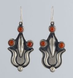 Navajo Native American Indian Sterling Silver Repousse Coral Stamp Hook Earrings #Unbranded