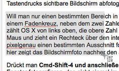 Mac Bildschirmfoto: command-shift-4 - Auswahl mit Fadenkreuz