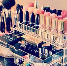 Display Your Lipsticks In Their Own Acrylic Stand - Show Off the Pretty Packaging & Might Encourage More Use Too! | Makeup Storage & Organization