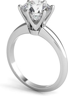 solitaire diamond engagement rings | shows the setting with a 2.00ct round brilliant cut center diamond ...