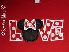 Custom Boutique Disney Vacation Personalized Minnie Mickey Love Valentine Applique boys girls Ariel Princess Donald Daisy tee t-shirt. $22.00, via Etsy.