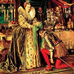Queen Elizabeth I Knighting Sir Francis Drake, cousin of Sir John Hawkins. Uk History, Tudor History, British History, Drake, Belle Epoque, Adele, Isabel I, Elisabeth I, Tudor Monarchs