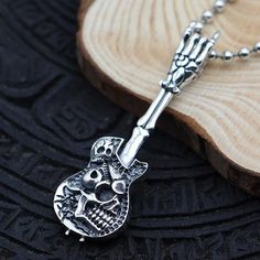 "Men's Sterling Silver Skull Guitar Necklace with Sterling Silver Bead Chain 18""-30"""
