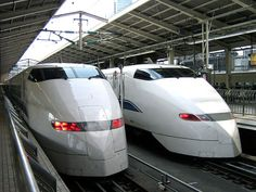 The trains  -  Japan - Every hour, two hikari trains operate on this route. Each train travels as quickly as 300 kilometres per hour.