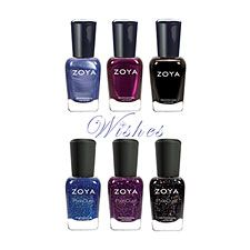 The Zoya Wishes Collection Sampler $57 contains one full size (0.5 fl. oz) bottle of each of the following shades:  1 - Nori 1 - Thea 1 - Imogen 1 - Prim 1 - Haven 1 - Willa