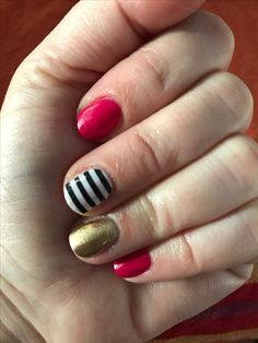 Jamberry Kiss and Midas lacquers and black and white stripe nail wrap Striped Nails, Nail Wraps, Jamberry, Kiss, Black, Nail Stripes, Black People, Kisses, A Kiss