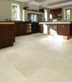 Porcelain tiles that look like travertine from Artisans of Devizes.
