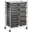 VonHaus 15 Drawer Storage Trolley | Home Office Supplies or Make-up & Beauty Accessories | Black