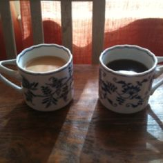 Coffee 365:  This morning I am having coffee with my husband. We are drinking Seattle's Best Level 4 (which I love) in my favorite Blue Danube coffee mugs.