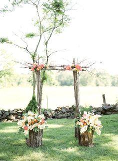 Outdoor, rustic wedding ceremony via Sweat Tea Photography