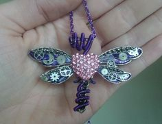 Steampunk dragonfly necklace, wire wrapped insect, animal necklace, pink rhinestone heart, purple dragonfly pendant, watch parts jewlery by DragonflyHJewellery on Etsy
