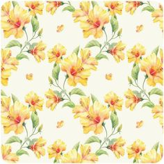 hibiscus pattern by Natalia Tyulkina, via Behance Textile Prints, Textile Patterns, Flower Patterns, Pattern Flower, Textiles, Yellow Hibiscus, Yellow Flowers, Botanical Illustration, Illustration Art