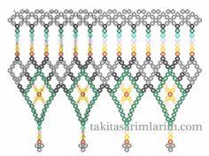 Baklava Model Necklace Making - Diy World Seed Bead Tutorials, Free Beading Tutorials, Beading Patterns Free, Diy Necklace Patterns, Beaded Jewelry Patterns, Beaded Ornament Covers, Bead Loom Bracelets, Beading Techniques, Bead Weaving