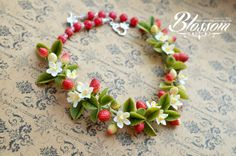 Strawberry necklace polymer clay flowers cold by HandMadeBlossom