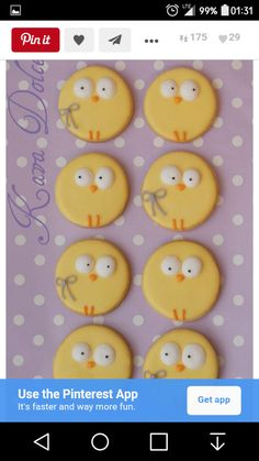 Kekse zu Ostern dekorieren SO CUTE! Easter chick cookies cakes and cupcakes baby chicks Galletas Cookies, Candy Cookies, Iced Cookies, Cute Cookies, Easter Cookies, Cookies Et Biscuits, Decorated Cookies, Sugar Cookies, Easter Cupcakes