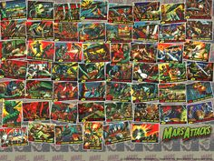 The entire Mars Attacks card set! Sketched by the great Wallace Wood and Bob Powell and painted by Norman Saunders.