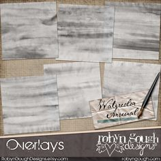 COMMERCIAL USE! Watercolor Arsenal Overlays Clipart by Robyn Gough on Etsy, digiscrap, digital scrapbook