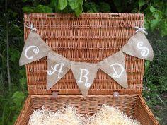 Idea for cards! Shabby Chic Garland, Shabby Chic Cards, Wedding Bunting, Wedding Decorations, Wedding Silverware, Bunting Banner, Hessian, Wedding Inspiration, Wedding Ideas