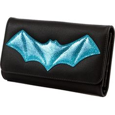 Lux De Ville Elvira After Midnight Wallet Black and Villain Blue... ($54) ❤ liked on Polyvore featuring bags, wallets, long bags, sparkly bag, long wallet, blue bag and card case wallet