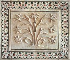 Detail, Taj Mahal, built between 1631 and 1654, India. Shah Jahan the emporor of the Mughal Empire built this monument to his favorite wife Mumtaz Mahal. This detail of a marble decorative frieze.