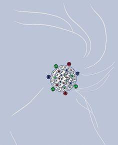 Entwurfszeichnung von Franz Hemmerle für einen mit Smaragden, Saphiren, Rubinen und Diamanten besetzten Kugelohrclip aus Weißgold (1980)
