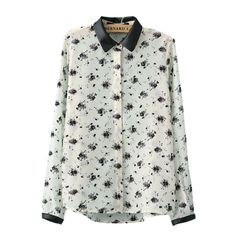 wholesale Latest casual flowers lapel thin blouses BD-X3049 white