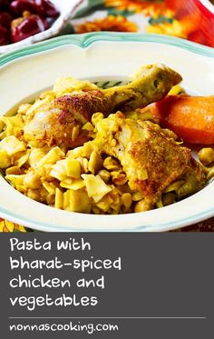 Pasta with bharat-spiced chicken and vegetables | In North Africa, pasta dishes tend to be concentrated in Tunisia and eastern Algeria. Nawasar is a small, flat square pasta that is made with semolina and flour, similar to Italian quadrettini and Greek hilopites. The pasta is traditionally served with either lamb or chicken spiced with bharat. There are many complex versions of this spice blend throughout the Middle East, but in Tunisia it is generally a simple mixture of dried rosebuds and…