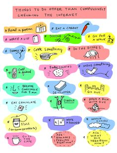 """""""things to do other than compulsively checking the internet"""" - by summer pierre.yes, found while compulsively checking the Internet! What To Do When Bored, Things To Do When Bored For Teens, Vie Motivation, Bored Jar, Diy Bathroom, Internet, Boredom Busters, Take Care Of Yourself, Self Improvement"""