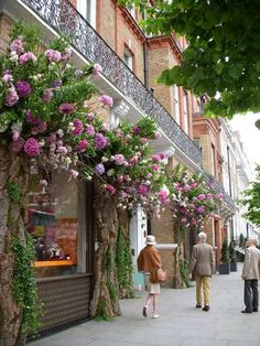 'Sloane in Bloom ~Chelsea, London~ Great idea for exterior of a tea room!~Chelsea, London~ Great idea for exterior of a tea room! Deco Restaurant, The Secret Garden, Shop Fronts, Chelsea Flower Show, Amazing Flowers, London England, England Uk, Beautiful Places, Scenery
