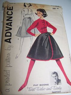 Vintage Advance Pat Boone sewing pattern.misses skirt & blouse , size 14.UNCUT by Sew Alike