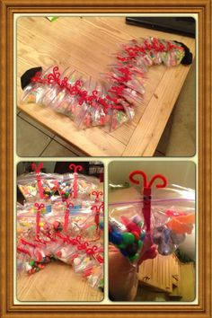 Completed Pinterest project. Caterpillar change to Butterflies filled with candy. It was a Valentine hit treat for the kids class. Supply's needed are, painted red clothes pins, google eyes, pipe cleaners, snack bags, and whatever candy you desire to fill with. Easy and cheap project for your children to do!