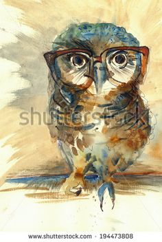 Wise Owl with big eyes in hipster glasses animal watercolor painting poster…