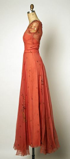 Adrian Dress - Late 1940's - Attributed to Gilbert Adrian (American, 1903-1959) - Silk. The MET (side view)