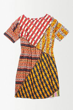 A good example on how to use good size scraps of fabric for an eclectic dress. Sienna Patchwork Shift #anthropologie