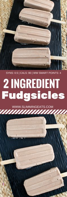 Slimming Eats Low Syn 2 Ingredients Fudgsicles - gluten free, vegetarian, Slimming World and Weight Watchers friendly Slimming World Deserts, Slimming World Free Foods, Slimming World Dinners, Slimming Eats, Slimming World Recipes, Ice Lolly Recipes, Low Calorie Desserts, Healthy Desserts, Healthy Meals