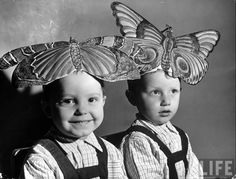 Russian kindergarten children wearing paper butterflies for a game in which they pretend to fly at the People's Commissariat of Education, August 1941 by Margaret Bourke-White