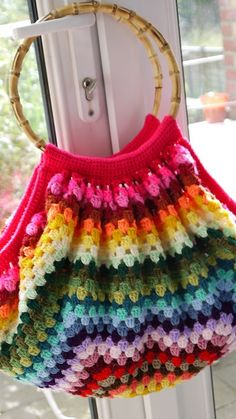 Colourful Striped Granny Stitch Bag:  on Ravelry Free pattern from Pierrot Yarns
