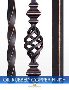 Available in the Twist & Basket, Gothic, Ribbon and Versatile collections. Our Oil Rubbed Copper is a high quality Satin Black powdercoat with a hand painted copper patina on top.  See all of our products on our website: https://cheapstairparts.com/  #StairRemodel #InteriorDesign #Staircase #StaircaseRemodel #Stairs #IronBalusters