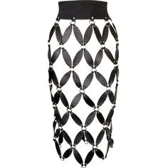 Zana Bayne Rio cutout leather skirt ($990) ❤ liked on Polyvore featuring skirts, bottoms, white leather skirt, white knee length skirt, print skirt, patterned skirts and white cut out skirt