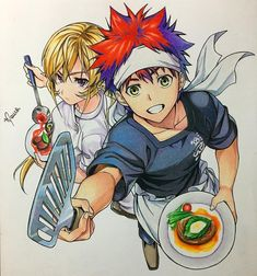 -- Food War -- Soma and Erina Manga Anime, Manga Art, Anime Disney, Slow Cooker Sloppy Joes, Japan Expo, Shokugeki No Soma Anime, Shokugeki Manga, Creepy, Fan Art Anime