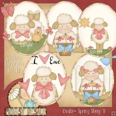 Ovals - Spring Sheep 1 - Clip Art by Primsy Doodle Designs