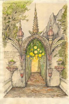 Ton van de Ven, Dutch artist. Sketch for the entrance of 'Droomvlucht' (Dreamflight), a ride in themepark Efteling.