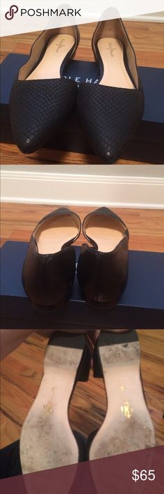 Cole Haan Amalia Skimmer Black Snake Ballet Flat High quality designer leather shoes. Asymmetrical flat with pointed toe and open side. Perfect for work or a night out! Size 8.5 true to size. Stylish snake print in black. Cole Haan Shoes Flats & Loafers