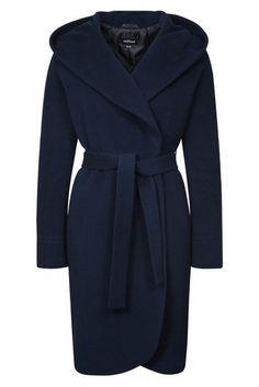 Зимнее пальто с капюшоном и поясом на кнопках, темно синее. Арт.396у