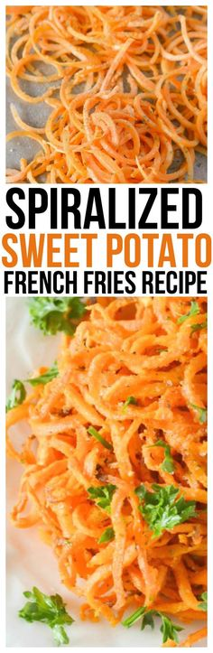 Make Sweet Potato Fries with little effort and in no time with our Baked Spiralized Sweet Potato Fries with Garlic and Parsley Recipe! via @KnowYourProduce