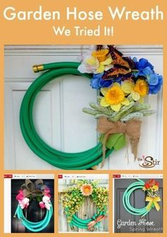 We tried this cute idea -- turning a Garden Hose into a Spring wreath!